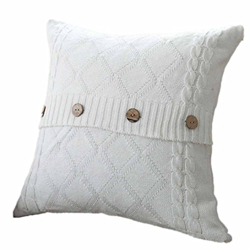 MIARHB Pillow Cases Knitted Button Decor Cable Knitting Patterns Throw Pillow Cases Cushion Shell Cafe Sofa Home Decor (White, 18 × 18 Inch)