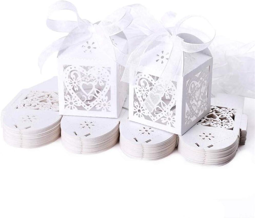 JZK 50x Blanco cajas papel caramelo bombones regalos detalles para boda cumpleaños fiesta bienvenida bebé bautizo sagrada comunión navidad