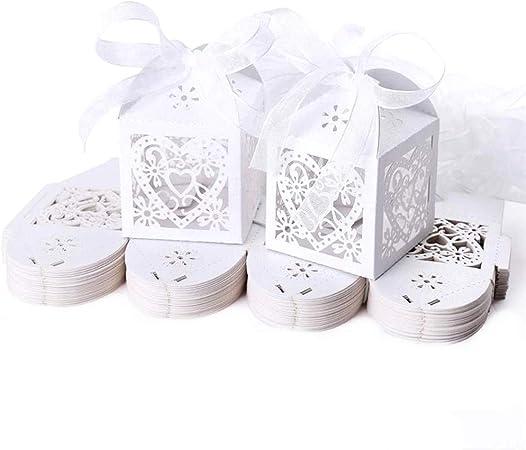 JZK 50x Blanco cajas papel caramelo bombones regalos detalles para boda cumpleaños fiesta bienvenida bebé bautizo sagrada comunión navidad: Amazon.es: Hogar