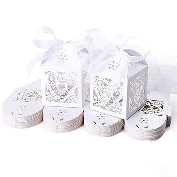 Jzk Schachtel Geschenkbox Gastgeschenk Kartonage Klein Süßigkeiten Kartons Bonboniere Kasten Tischdeko Favous Box Für Hochzeit Party Feier Weiß