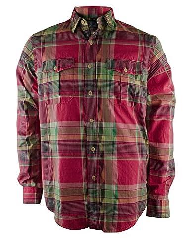 Polo Ralph Lauren Men's Roll-tab Button Down Shirt, Magenta/Green, Medium (Magenta Green)