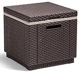 Allibert by Keter Rattan Ice Cool Box Outdoor Garden Furniture, Brown, 39 x 39 x 43 cm
