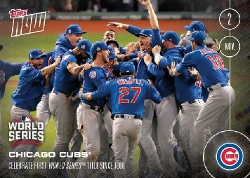 2016 Topps Now #665 Chicago Cubs Celebrate First World Series Title Since 1908 Commemorative Baseball Card - Kris Bryant, Addison Russell, Ben Zobrist, Mike Montgomery, and more! ()