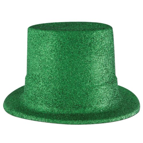 - Beistle 30802-G 24-Pack, Green Glittered Top Hats 11 x 11.2 x 9.5 inches