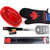 BBQ Picnic Accessories Bundle With Canada Day Theme Oven BBQ Mitt, Red Deli Baskets, Long Stainless Steel Spatula and Long Silicone Basting Brush