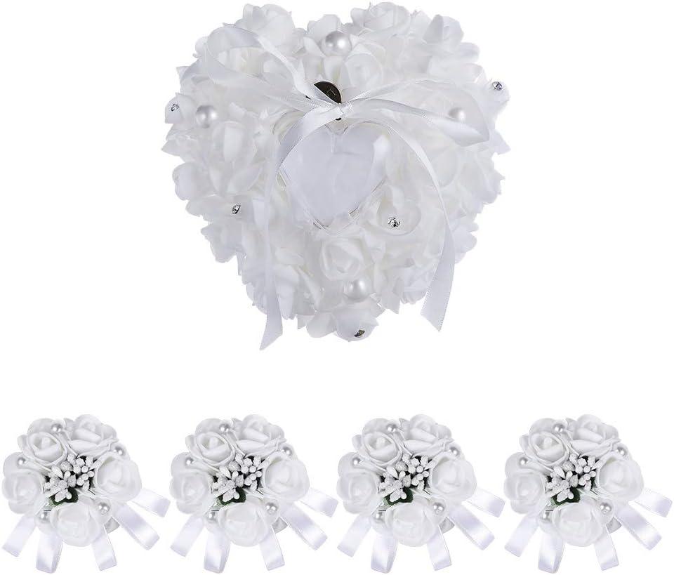 HOSTK 5pcs Anillo de bodas Cojines Novia Muñequera, Caja con forma de corazón, Anillo nupcial Cojín Portador con flores Cinta Bowknot, Flor de muñeca de mano de dama de honor