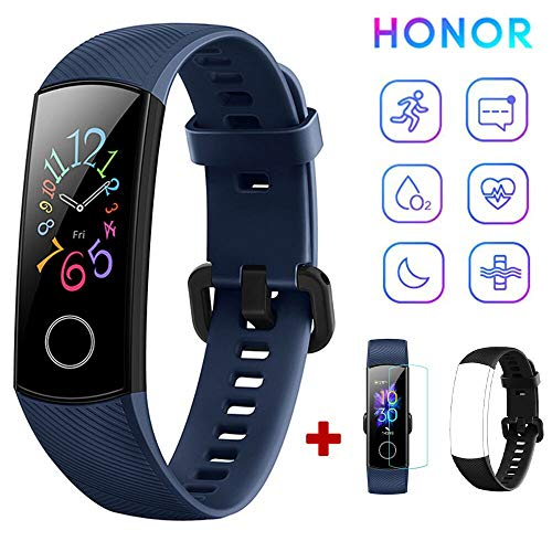 HONOR Band 5 Fitness Tracker Heart Rate Monitor AMOLED 0.95 Inch Smart Watch 5ATM Waterproof Bluetooth 4.2 (Blue)