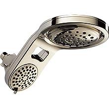 Delta 58580-PN-PK HydroRain 5-Spray Touch Clean 2-in-1 Rain Shower Head, Polished Nickel