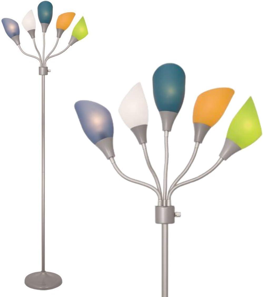 Silver Home Design Medusa Silver Floor Lamp with Multicolor Acrylic Shades