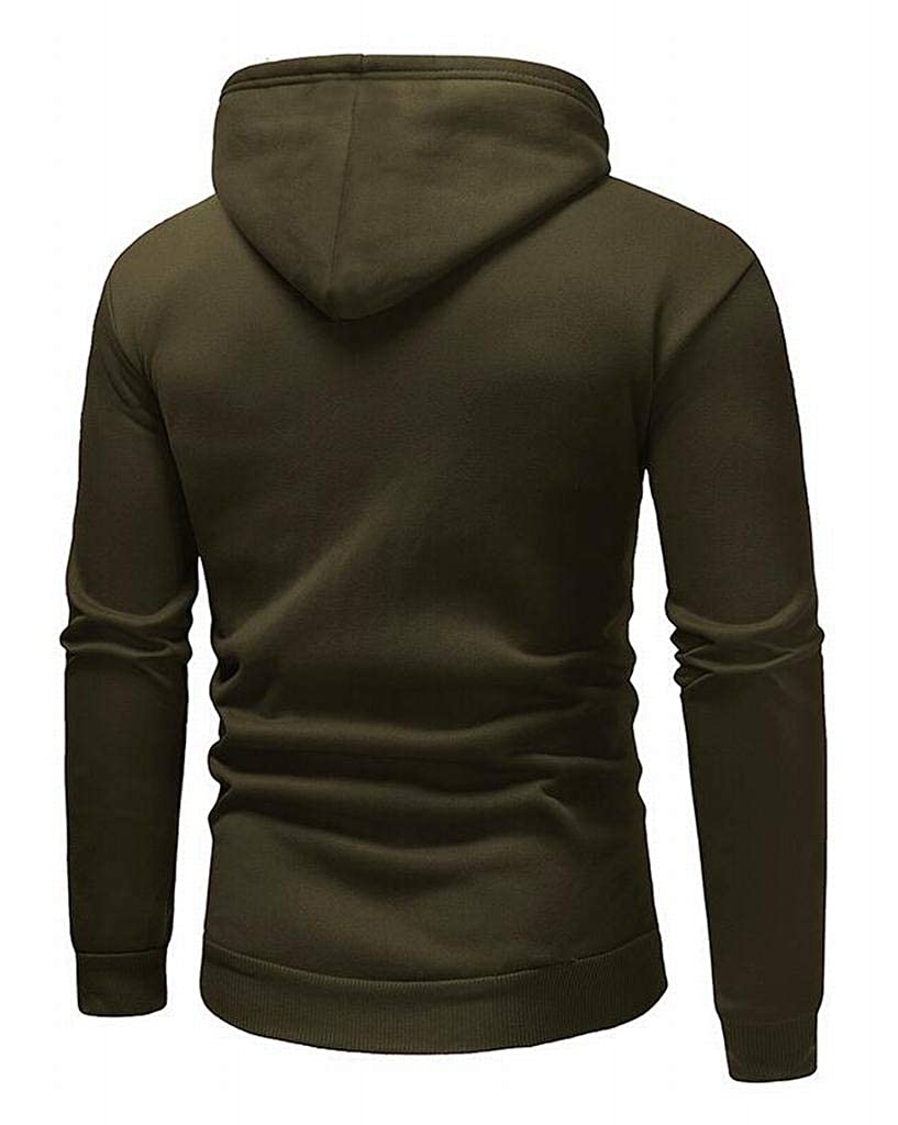 Heless Mens Pure Color Pocket Casual Loose Fit Long Sleeve Pullover Hoodies Sweatshirt