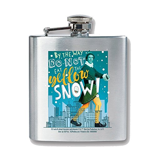 Elf By the Way Don't Eat the Yellow Snow 8 Ounce Stainless Steel Flask