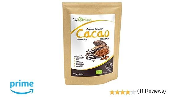 Polvo de Cacao Peruano Crudo Orgánico (200g), MySuperFoods, Delicioso y bueno para usted, Rico en micronutrientes, certificado como producto orgánico, ...