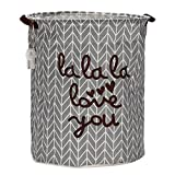 Sea Team Foldable Large Cylindric New Canvas Fabric Storage Bin Storage Basket Organizer for Kid's Room Toy Storage, Laundry Hamper for Blouse T-shirt Underwear etc., Grey