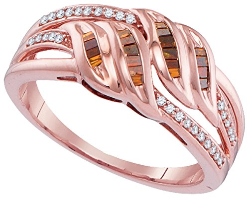 10kt Rose Gold Womens Princess Red Colored Diamond Strand Band Ring 1/4 Cttw by JAWAFASHION