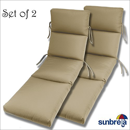 Comfort Classics Inc. SET OF 2-22x74x5 Sunbrella Indoor/Outdoor Fabrics in Antique Beige CHANNELED CHAISE CUSHION by