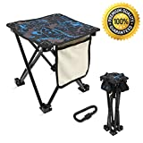 Mini Portable Folding Stool with Side Pocket & Bag Hanger,Folding Camping Stool,Outdoor Folding Chair,Slacker Chair,Backpack BBQ Fishing Travel Hiking Mountaineering Garden Beach Camping Chairs