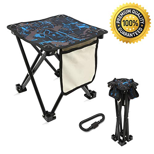 Mini Portable Folding Stool with Side Pocket & Bag Hanger,Folding Camping Stool,Outdoor Folding Chair,Slacker Chair,Backpack BBQ Fishing Travel Hiking Mountaineering Garden Beach Camping Chairs by Migree