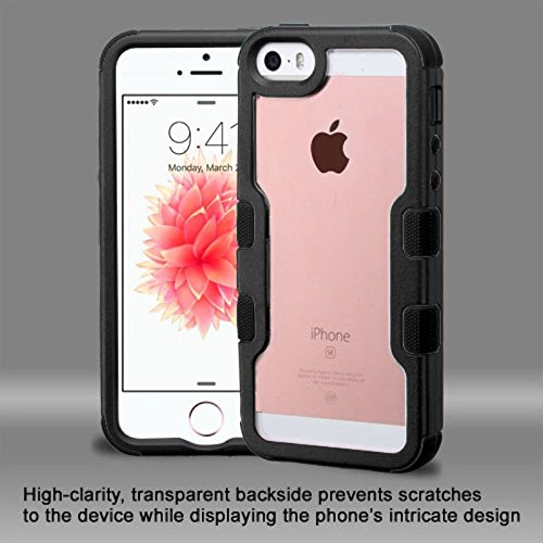Price comparison product image iPhone 5/5S/SE Case, Mybat Dual Layer [Shock Absorbing] Protection Hybrid Crystal PC/Silicone [Anti-Shock] Bumper Case Cover For Apple iPhone 5/5S/SE, Black/Clear