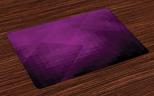 Ambesonne Eggplant Place Mats Set of 4, Abstract Purple Squares in Faded Color Scheme with Modern Art Inspired Style Pixelart, Washable Fabric Placemats for Dining Room Kitchen Table Decor, Purple