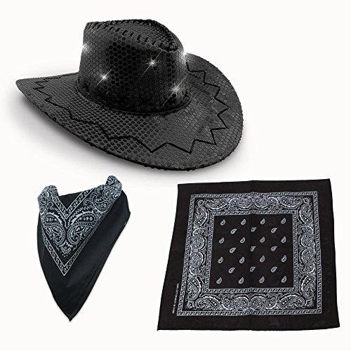 Premium LED Light-UP Cowboy Hat & Bandana Set (Black LED Cowboy Hat & Bandana Set) - Hoedown Halloween Costumes