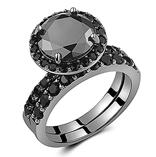 Caperci Black Round Solitaire Sterling Silver Wedding Ring Set for Women, Size 7