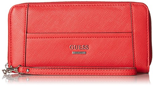 Guess Handbags Wallets - GUESS Huntley Saffiano Large Zip Around, Cny Red