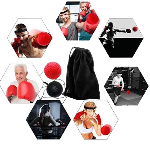 Balle de Combat avec Bandeau de T/ête,Ballon de Boxe pour La Formation de Vitesse R/éflexe Punch Exercice Entra/înement