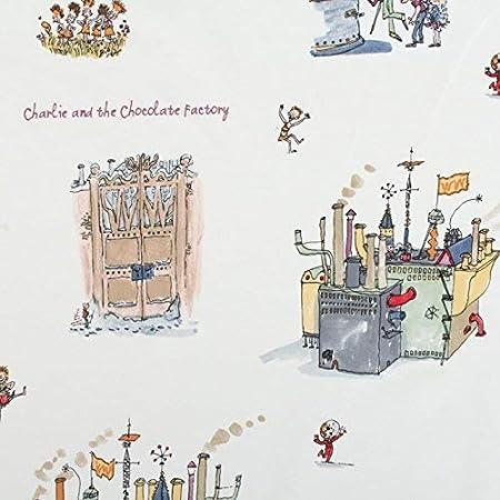 Roald Dahl 100% algodón Charlie y la fábrica de Chocolate - diseño de fábrica de Chocolate: Amazon.es: Hogar