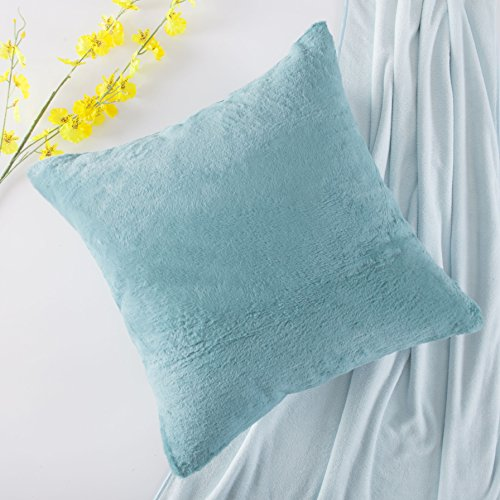 Home Brilliant Plush Mongolian Faux Fur/Suede Euro Sham Large Throw Pillowcase Cushion Cover for Patio, 1 Pc, Pillow Not Included, 26 x 26 inches, Turquoise