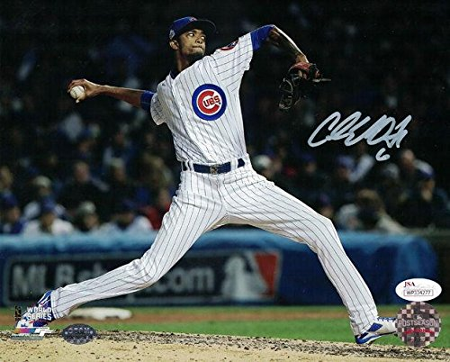 CARL EDWARDS JR AUTOGRAPHED/SIGNED CHICAGO CUBS 8x10 PHOTO (PITCHING) 14124 - JSA Certified - Autographed MLB Photos
