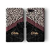 Personalised iPhone 5 / 5s / SE Tirita Leather Flip Wallet Case Cover PRINTED GLITTER, NOT REAL GLITTER Animal Print Glitter Snake Rose Gold Custom Initials Name Bling