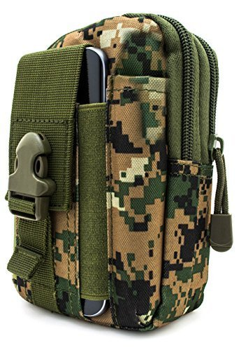 Bastex Universal Multipurpose Tactical Cover Smartphone Green Camo Holster EDC Security Pack Carry Case Pouch Belt Waist Bag Gadget Money Pocket for iPhone 6s Samsung Galaxy S7 Note5 LG G5 iPhone 7