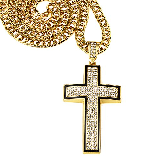 Hip hop 18K Gold Plated Jesus Cross Pendant with Rhinestone Chain Necklace Mens Jewelry For Present (gold)