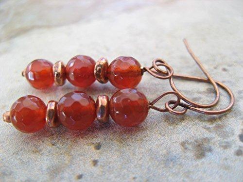 Carnelian Gemstone Earrings Mixed Copper Metals Bohemian Artisan Jewelry