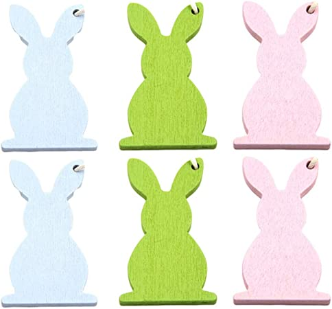 Vosarea 16pcs Unfinished Wood Cutout Easter Rabbit Flower Wooden Hanging Ornaments with Hemp Rope Easter Party Hanging Decorations
