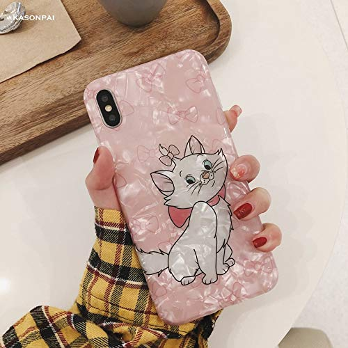 Maxlight Cute Pink Marie Cat Conch Shell Phone Case for iPhone 8 Case for iPhone Xs MAX XR X 7 8 Plus Back Cover Lovely Funny Case (Style1, for iPhone XR)