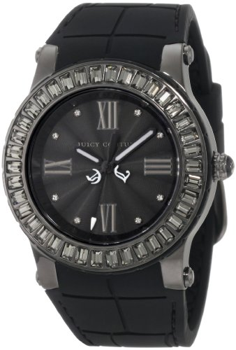 (Juicy Couture Women's 1900885 Hrh Black Embossed Jelly Strap Watch)