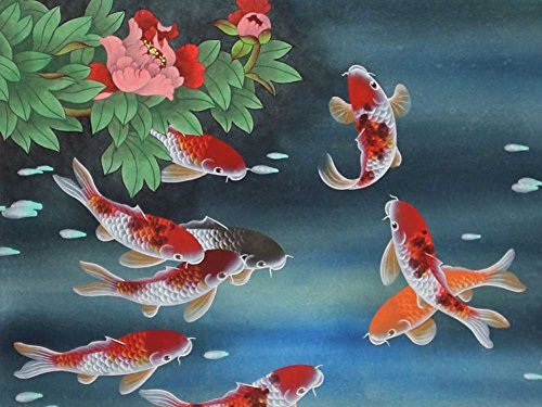 Koi Fish -Oil Painting On Canvas Modern Wall Art Pictures For Home Decoration Wooden Framed (12X16 Inch, Framed)