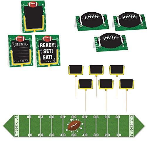 Football Party Decorations - Set of 6 ft Table Runner and 12 Buffet Food Labels -