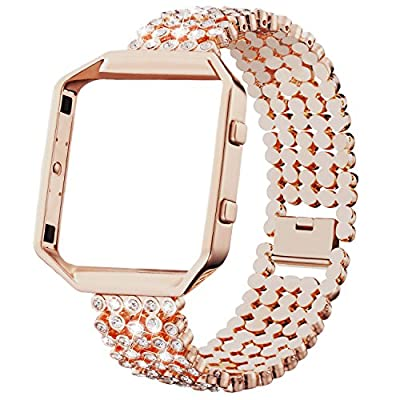 Dizywiee for Fitbit Blaze Bands, Metal Bands with Rhinestone Stainless Steel Frame Replacement Accessory Bracelet Silver Rose Gold