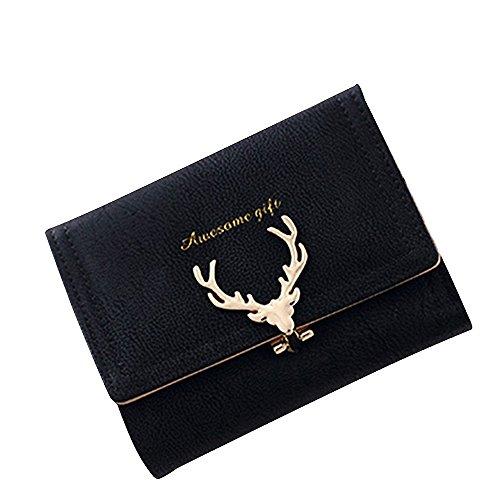 Kukoo Women Suede Leather Short Wallet Deer Pattern Clutch Bag Credit Card Holder by Kukoo