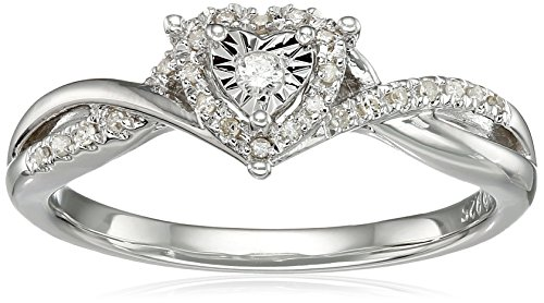 Sterling Silver Diamond Heart Twisted Ring (1/10cttw, I-J Color, I3 Clarity), Size 7 by Amazon Collection