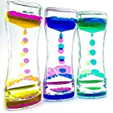 3 Pack Liquid Motion Bubbler for Kids Adults Hourglass Liquid Bubbler Timer Sensory