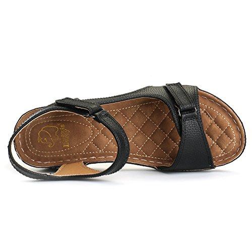 Image of Alexis Leroy Women's Crisscross Buckle Straps Open Toe Comfort Flat Sandals