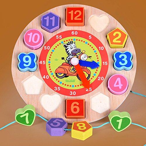 1Pcs/Set Animal Carton Educational Toy For Children Digital Wooden Clock