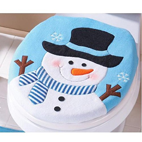 Boomboom Christmas Snowman Toilet Seat Cover and Rug