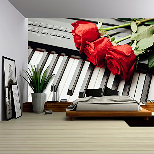 Piano Keys and Red Roses