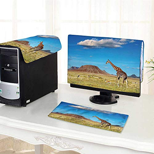 Computer Monitor Dust Cover 3 Pieces Collection African Savannah with Giraffe and Grazing Antelopes Volcano Summer Sky Picture Antistatic, Water Resistant /30