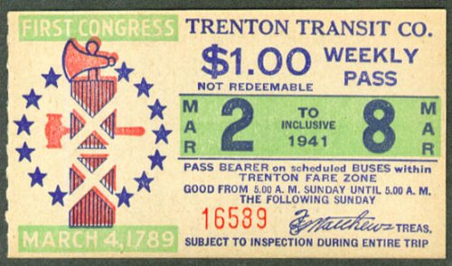 Trenton Transit Weekly Trolley Pass 1941 1st Congress