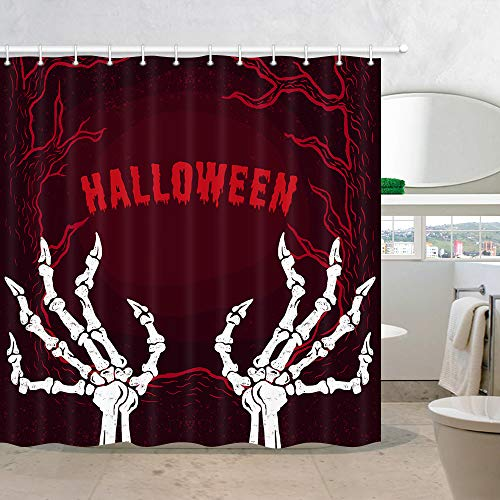 NYMB Halloween Wallpaper Shower Curtains, Scary Ghost Skull Hand Skeleton with Red Gothic Forest Bathroom Curtains Waterproof Fabric Panel Halloween Party Bath Curtain Sets with 12 Hooks, 70